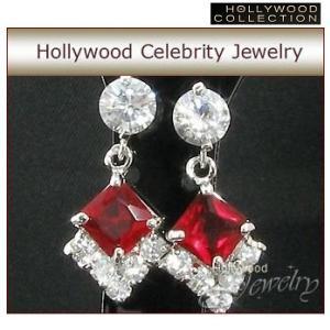 ピアス ルビー レッド  プリンセス 揺れる ピアス|ハリウッド セレブ コレクション|celeb-cz-jewelry