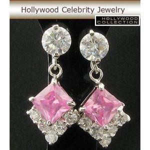 ピアス ピングダイヤモンド プリンセス 揺れる ピアス|ハリウッド セレブ コレクション|celeb-cz-jewelry