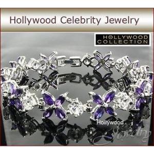 ブレスレット アメジスト パープル フラワー 花 テニスブレスレット ハリウッド セレブ コレクション celeb-cz-jewelry