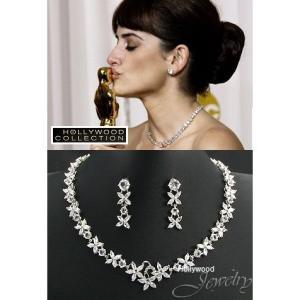 ブライダル ネックレス セット ダイヤモンド 花 フラワー ペネロペ クルス コレクション|celeb-cz-jewelry
