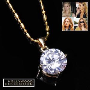 ネックレス ダイヤモンド 一粒 18金 12mm径 ハリウッド セレブ コレクション|celeb-cz-jewelry