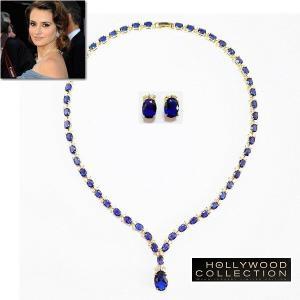 ブライダル ネックレス セット サファイア ブルー 18金 パーティ ペネロペ クルス アカデミー賞コレクション|celeb-cz-jewelry