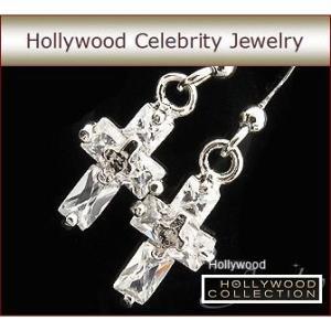 ピアス ダイヤモンド クロス 十字架 揺れる ピアス|ハリウッド セレブ コレクション|celeb-cz-jewelry