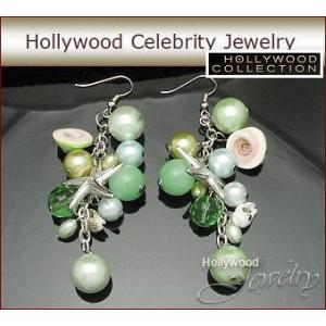 ピアス パール スターフィッシュ 海の思い出 揺れる ピアス|ハリウッド セレブ コレクション|celeb-cz-jewelry