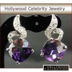 ピアス アメジスト パープル ピアス|チェッカーボードカット|ハリウッド セレブ コレクション  |celeb-cz-jewelry