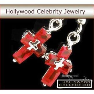 ピアス ルビー レッド クロス 十字架 揺れる ピアス|ハリウッド セレブ コレクション|celeb-cz-jewelry