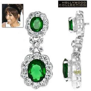 ブライダル ピアス エメラルド グリーン 揺れる エバ ロンゴリア コレクション|celeb-cz-jewelry