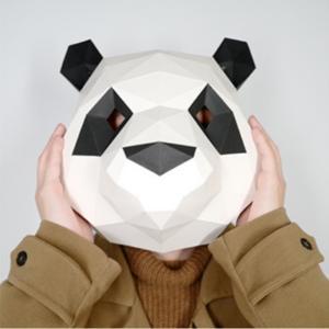 ペーパークラフト キット 工作キット パンダ マスク お面 段ボール 3D かわいい 大人 子供