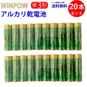 単3電池 AA LR6/AM-3 × 20本 Winpow WinPow アルカリ乾電池 単3 ヘッ...