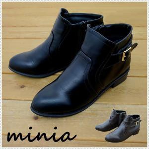 セール minia  ミニア サイドベルトショートブーツ 3104  レディース|centas