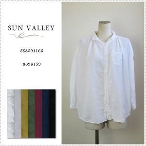 SUN VALLEY サンバレー 無地9分袖 ボイルギャザーシャツ SK8091166 レディース 製品染め 綿100%|centas