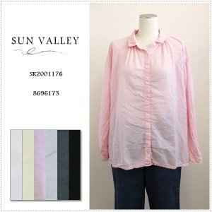 SunValley サンバレー 無地長袖ボイルギャザーシャツ SK2001176 レディース 製品染め ブラウス 綿|centas