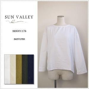 SunValley サンバレー オックス製品染めバックギャザークルーネックプルオーバー SK8001176 レディース 無地 長袖 綿|centas