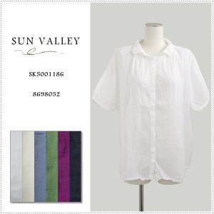 SunValley サンバレー 無地5分袖ボイルドルマンギャザーシャツ SK5001186 製品染め レディース 綿 ブラウス|centas