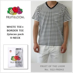 FRUIT OF THE LOOM 922-FRDH2 Vネック ホワイトTシャツ+ボーダーTシャツ2枚セット フルーツオブザルーム|centas