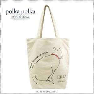 polkapolka 620-6961 Cat アイボリー アニマルグラフィックトート ポルカポルカ|centas