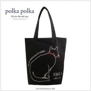 polkapolka 620-6962 Cat ブラック アニマルグラフィックトート ポルカポルカ|centas