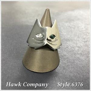 Hawk Company ホークカンパニー  オッドアイ キャットモチーフ リング HK6374 指輪 猫|centas