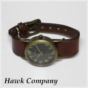 Hawk Company ホークカンパニー アンティーク調 レザー ブレス ウォッチ 6422 本革 腕時計 レディース|centas