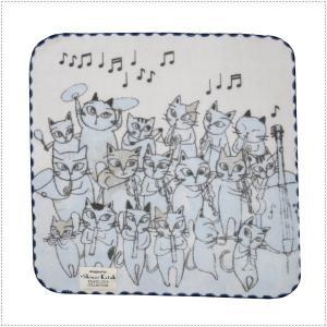 SKTC115-01  Shinzi Katoh  猫のオーケストラ(ブルー) タオルチーフ  タオルハンカチ  ガーゼ&無撚糸  ハンカチタオル|centas