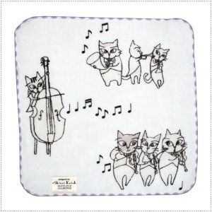 SKTC115-02  Shinzi Katoh  猫のオーケストラ(グレー) タオルチーフ  タオルハンカチ  ガーゼ&無撚糸  ハンカチタオル|centas