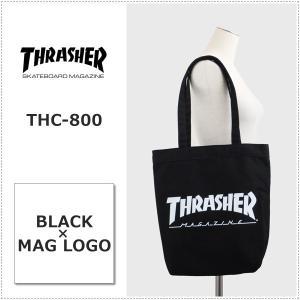 THRASHER THC800 BK ブラック×マグロゴ スラッシャー キャンバス トートバッグ A4収納|centas