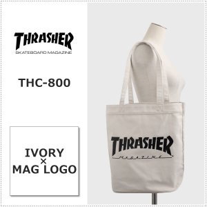 THRASHER THC800 IVO アイボリー×マグロゴ スラッシャー キャンバス トートバッグ A4収納|centas