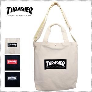 THRASHER THC803 コットン キャンバス ショルダーバッグ トートバッグ 2WAY 男女兼用 A4収納 プリントロゴ centas