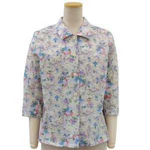 婦人シニアファッション 婦人服 敬老の日 70代 80代 90代 綿100% エンボス 後ろ身頃 ゆったり 7分袖 ブラウス 日本製 春夏 center-urashima