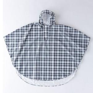 コヤナギ キッズサイズ対応 おしゃれなポンチョ レインポンチョII P-02 チェック黒×グレイ L|central-bookstore