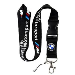 BMW Motosport ロゴ入りキーホルダー ブラック クリップ付き ネックストラップ ウェビングストラップ クイックリリース式バックル付き|central-bookstore