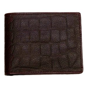 本革財布Genuine Leather本牛革 ワニ型押し二つ折り財布 ブラウン central-inc