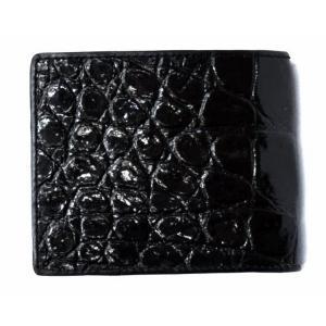 本革財布Genuine Leather本ワニ革 黒二つ折り財布 central-inc