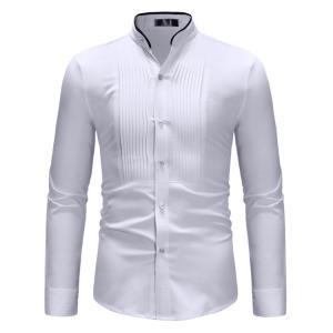 メンズシャツ カジュアルシャツ スタンドカラーシャツ フォーマル オフィス 長袖 シャツトップス 大...