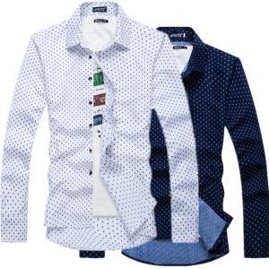 シャツ 長袖 メンズ カジュアルシャツ ワイシャツ ドット フォーマル 大きいサイズ トップス シャ...