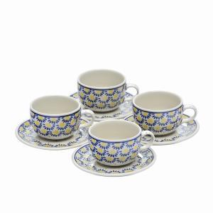 カップ&ソーサー4客のセット。家族で集まったり、お客様を招いたり、皆でお茶の時間を過ごすときに。 絵...