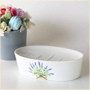 ラベンダー石鹸置き 気持ちが安らぐサニタリー 石鹸台 ソープディッシュ サニタリー 洗面 手洗い 国産 美濃焼の写真