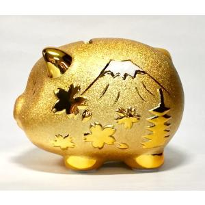 ジャパン金豚貯金箱 MR234陶器 置物 500円玉 おしゃれ ブタ ぶた かわいい 運気アップ 風水 インテリア 置物 玄関 リビング 金運 金色の画像