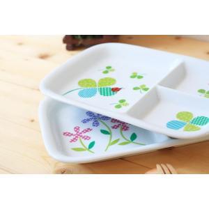 クローバーと花のランチプレート 爽やかな新緑の季節に 洋食器 食器 仕切り皿 かわいい 子供 プレゼ...