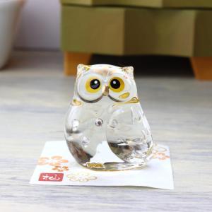 クリスタルガラス製ふくろうの置物です。 下面には金メッキがまぶしてあり本体から透けて光ります。 可愛...