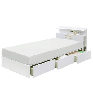 ベッド ベット シングル フレーム 収納付き ライト付き ブラウン(マットレス別売) クイーン|cestlavie