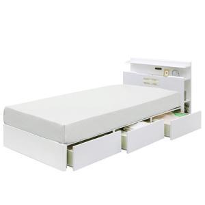 ベッド ベット セミダブル フレーム 収納付き ライト付き ブラウン(マットレス別売) クイーン|cestlavie
