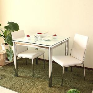 ダイニングテーブルセット ダイニングセット ガラス 3点セット 2人用 80cm幅 Nフレスコ cestlavie