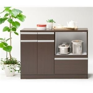 キッチンカウンター 食器棚 レンジ台 完成品 120cm幅 スライス 2色対応|cestlavie