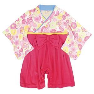 袴 ロンパース 女の子 ベビー 赤ちゃん はかま 和装 カバーオール フォーマル TM004 ピンク 70cm|cgrt