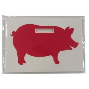 チクノライフ 豚の貯金箱メッセージカード SPARTUTE PIGGY BANK ピンク 15×10.5cm TS6071|cgrt