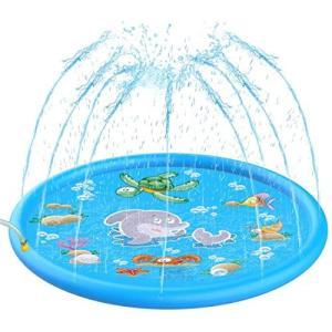 噴水マット プレイマット PVC 子供 プールマット 噴水おもちゃ 水遊び 芝生遊び 親子遊び 夏に大活躍 170CM直径|cgrt