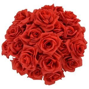 バラ 造花 50本 cnomg 直径8cm 母の日 プロポーズ 結婚式 誕生日 お祝い 演出にローズ 装飾 DIY材料 (レッド) cgrt