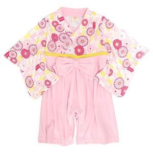 袴 ロンパース 女の子 ベビー 赤ちゃん はかま 和装 カバーオール フォーマル TM003 ピンク 90cm|cgrt