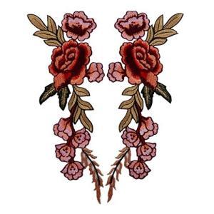 高級感あるデザイン 2枚 スパンコールモチーフ ボタンの花 刺繍アイロンアップリケワッペン (赤) [並行輸入品] cgrt